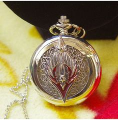 Victorian Silver Sacred Badge Pocket Watch Necklace