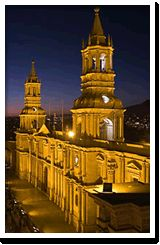 the square of Arequipa, one of the most beautiful destinations in the evening.