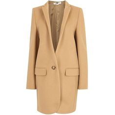 Womens Short Coats Stella McCartney Bryce Camel Wool Blend Coat ($1,480) ❤ liked on Polyvore featuring outerwear, coats, beige coat, wool blend coat, stella mccartney, short coat and camel coat