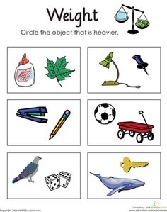 First Grade Measurement Worksheets: Heavy or Light: Measuring Weight. This is perfect for an educator to apply the NCTM math standards; kids will ue their prior understanding of their environment while comparing weights of two or more objects. First Grade Measurement, Measurement Kindergarten, Measurement Worksheets, 1st Grade Worksheets, Kindergarten Science, 1st Grade Math, Preschool Math, Math Classroom, Kindergarten Worksheets