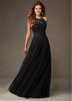 Buy discount Amazing Tulle Jewel Neckline Natural Waistline Floor-length A-line Bridesmaid Dresses at Dressilyme.com
