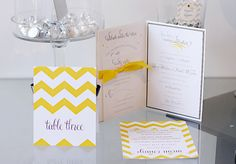 Yellow and Grey Chevron wedding stationery by Persnickety Invitation Studio