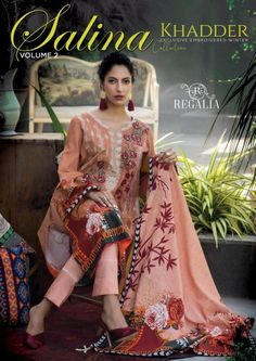 Salina Khaddar Emb Vol 2-page-001 Summer Outfits Women, Short Outfits, Summer Dresses, Latest Pakistani Fashion, Pakistani Outfits, Suits For Women, Clothes For Women, Lawn Suits, Chiffon Maxi