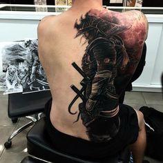 samurai tattoo, zeichnung, tiger, rücken, rückentattoo