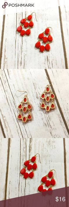 NWT Bright Red earrings with gold accents! NWT Bright Red earrings with gold accents! Jewelry Earrings