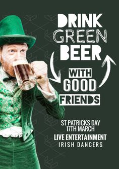 St Patrick's Day templates - Leprechaun, Drink Green Beer with Good Friends, Post Design