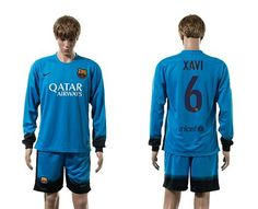 Barcelona #6 Xavi Sec Away Long Sleeves Soccer Club