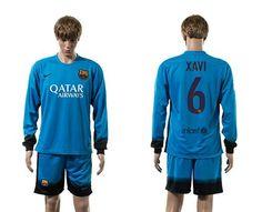 Barcelona #6 Xavi Sec Away Long Sleeves Soccer Club