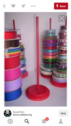 Ribbon spool organizer ~ take it further for my collection, drill holes in a laz. Handwerk ualp , Ribbon spool organizer ~ take it further for my collection, drill holes in a laz. Ribbon spool organizer ~ take it further for my collection, drill . New Crafts, Home Crafts, Craft Projects, Crafts For Kids, Children Crafts, Craft Ideas, 31 Ideas, Decor Ideas, Ribbon Organization
