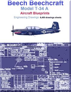Beech T-34 A Aircraft Blueprints Engineering Drawings - Download - Aircraft Reports - Aircraft Helicopter Engines Propellers Manuals Blueprints Publications
