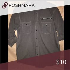 MENS drk gray casual shirt MENS no brand drk gray poly / cotton shirt with mid elbow wear option Eighty Eight Shirts Casual Button Down Shirts