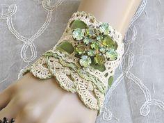 Embroidered lace wrist cuff bracelet