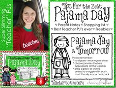 """Polar Express, Pajama Day, and a Freebie note letting parents know that """"PJ Day is Tomorrow"""""""