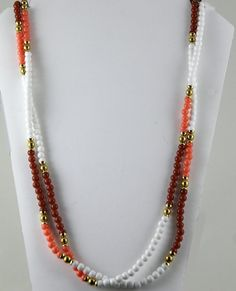 """Kenneth Lane Faux Coral Agate Bead Necklace 59"""" Long Goldtone Accents #KennethJayLane"""
