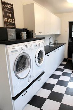 Monica stewart black and white washroom 00010 ~ Home Decoration Inspiration Bathroom Interior, Interior Design Living Room, Living Room Designs, Laundry Room Remodel, Laundry Room Bathroom, Laundry Room Lighting, White Laundry Rooms, Laundry Room Design, Küchen Design