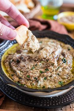 Baba Ghanoush (Roasted Eggplant Dip) | www.oliviascuisine.com | This creamy and delicious roasted eggplant dip is a Lebanese classic! It is vegetarian, but you can make it vegan by omitting the sour cream.