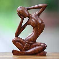 Wood sculpture, 'How Do I Look?'