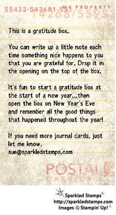 Create a Gratitude Box Instead of a Gratitude Jar with MDS! | Example of a gratitude box note. | Sparkled Stamps.