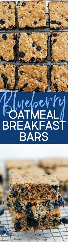 These delicious Blueberry Oatmeal Breakfast Bars make a quick on-the-go breakfast or snack option that are healthy, kid-friendly and super easy to throw together! Oatmeal Breakfast Bars, Oatmeal Bars, What's For Breakfast, Paleo Breakfast, Breakfast Recipes, Snack Recipes, Blueberry Breakfast, Oatmeal Recipes, Köstliche Desserts
