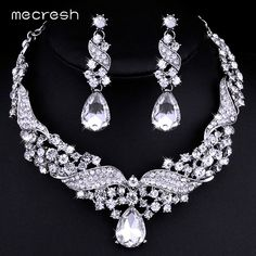 Mecresh Crystal Bridal Jewelry Sets Water Drop Earrings Necklace for Women Silver-color Rhinestone Wedding Jewelry TL006