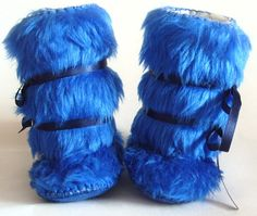 Blue Faux Fur Baby Boy Boots Baby Mukluks Winter by funkyshapes, $32.95