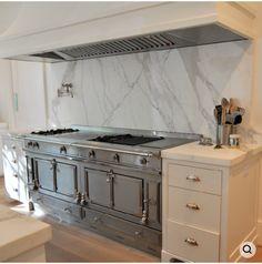 french range + marble slab back splash