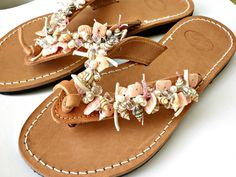 Leather sandals -Greek leather sandals - Beaded summer sandals - Sea shell decorated sandals - Pink shell and beads flip flops - Beach shoes...