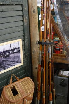 bamboo fishing rods and wicker fishing creel.love these for decorating in my cabin. Gone Fishing, Fishing Rods, Fishing Stuff, Fishing Tackle, Bamboo Fly Rod, Lakeside Living, Fish Tales, Vintage Cabin, Lake Cottage