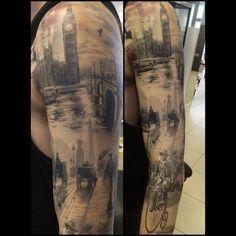 Old london tattoo sleeves Red Tattoos, Badass Tattoos, Girl Tattoos, Tattoos For Guys, Tatoos, Beard Tattoo, Tattoo Ink, Sleeve Tattoos, Tattoo Sleeves