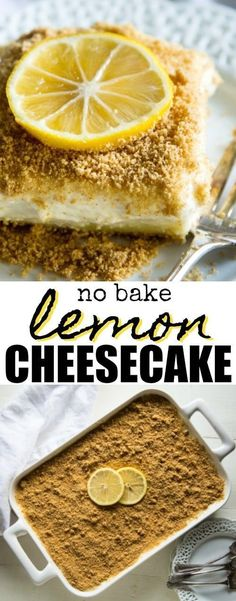 You'll love this light and airy no-bake Lemon Cheesecake! No eggs no whipped cream no oven necessary. This recipe is just smooth silky light-as-air lemony goodness. Exactly what you remember from so many years ago. Lemon Cheesecake Recipes, Lemon Dessert Recipes, Delicious Desserts, No Egg Desserts, Sweet Desserts, Jai Faim, Yogurt Cake, Savoury Cake, Holiday Recipes