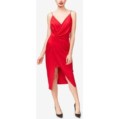 Betsey Johnson Draped Surplice Sheath Dress ($95) ❤ liked on Polyvore featuring dresses, red, surplice dress, betsey johnson dresses, red sheath dress, red plunge dress and red draped dress
