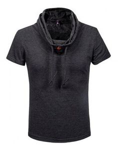 Plus size cowl neck t shirt with hood for men short sleeve hodies  Embellished Shorts ca8a3c8dc89
