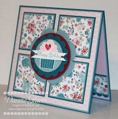 Happy-Birthday-Card ... square card ... grid of matted twinchies ... circle medallion with die cut cupcake and double fishtail banner with birthday greeting .,, blues and pinks ... Twetterpated printed paper ...lovely card! ... Stampin' Up!