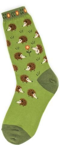 Adorable little brown hedgehogs on a green background adorn these Hedgehog Socks!