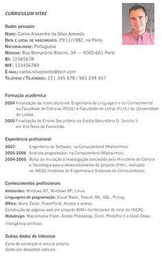 """Português: """"Curriculum Vitae"""" - Modelo simples"""