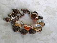 Faceted Oval Crystal Copper Handmade by bdzzledbeadedjewelry Strand Bracelet, Beaded Bracelets, Handmade Beaded Jewelry, Unique Jewelry, Copper, Jewelry Making, Brooch, Crystals, Handmade Gifts