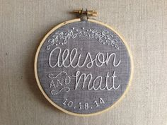 Custom Wedding Embroidery Hoop by NugsToTheDust on Etsy