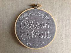 Custom Wedding Embroidery Hoop by NugsToTheDust on Etsy