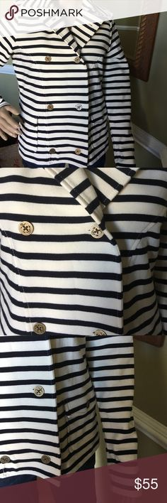 Beautiful nautical jacket Gorgeous looking good 😊 Like new brass color decorative buttons soft and comfy you will love ❤️ it off white and black stripes Lauren Ralph Lauren Jackets & Coats