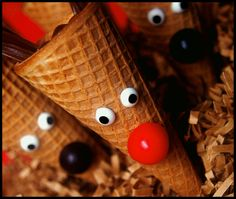 Rudolph Sugar Cones to hold Christmas snacks