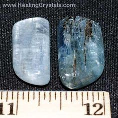 """Tumbled Crystalline (""""Gemmy"""")  Blue Kyanite is especially good for working with the Throat Chakra and communication issues.  It helps to speak one's truth with clarity, making it a great stone for public speakers and performers.  Blue Kyanite is also useful for healing throat and voice ailments.  It also facilitates an alignment of all the subtle bodies, creating a larger and stronger aura. An excellent Third Eye Chakra stone."""