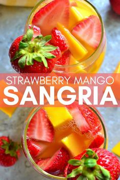 As summer approaches and the weather warms up, nothing is more refreshing than a cold glass of sangria! Check out this delicious cocktail recipe for Strawberry Mango Sangria! It's the perfect patio drink for warm summer nights and this particular rec Refreshing Drinks, Summer Drinks, Fun Drinks, Healthy Drinks, Fruity Bar Drinks, Summer Alcoholic Punch, Mango Drinks, Summer Sangria, Beverages