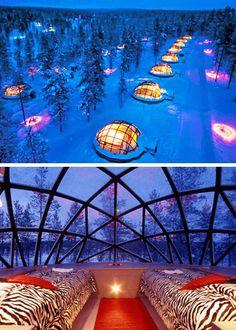 Finnish Hotel where you can sleep in a glass igloo!!