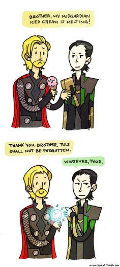 I bet Loki gets this a lot. or would, if Thor was obsessed with ice cream, and Loki and Thor actually got along. Loki Avengers, Loki Thor, Tom Hiddleston Loki, Loki Laufeyson, Marvel Dc, Marvel Comics, Marvel Memes, Oui Oui, The Villain