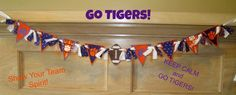 Embroidered Clemson Tigers Pennant Football Banner/Bunting With Rag Ties. $31.50, via Etsy.