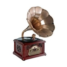 Classical Trumpet Horn Turntable - So much more than a record player, this amazing piece of furniture combines modern technology with old fashioned Victorian virtues. The classic metal horn just typifies a bygone era and the unit as a whole is bound to become a conversation piece as soon as anyone sees it. Classy and exceptionally well built, will look great in any home and allow you to wallow in nostalgia while benefiting from the best of modern day technology. - Found at myWebRoom.com