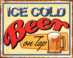 Ice Cold Beer Placa de lata na AllPosters.com.br