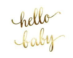 Hello Baby Gold Foil Print - Stylish Baby Shower Gift. Glam up a nursery with this gorgeous gold foil wall art designed and created by Mad Kitty Media. This gorgeous gold foil print glistens and shines! Made with a satin-finish white cardstock and foil. (Not canvas.) Shipped QUICKLY in gift-ready packaging. Frame it, stick in on a bulletin board or gift it to a friend. 5x7. Check out the rest of Mad Kitty's prints to see a selection of gorgeous motivational and inspirational prints!.