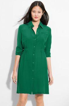 9ebee8fbc96f Calvin Klein polyester spandex Shirt Dress Green Shirt Dress