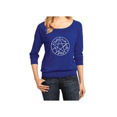 Supernatural Inspired Clothing Devil's Trap Symbol Raglan 3/4 Length... (33 AUD) ❤ liked on Polyvore